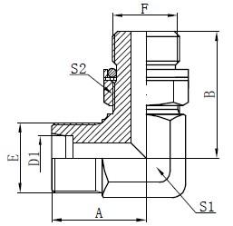 কনুই Hydraulic অ্যাডাপ্টার অঙ্কন